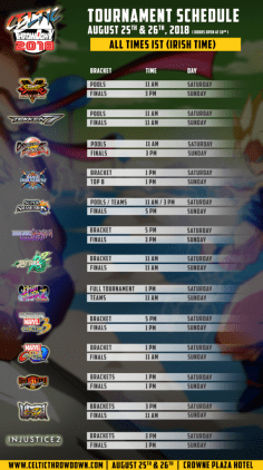 Celtic Throwdown 2018 schedule.