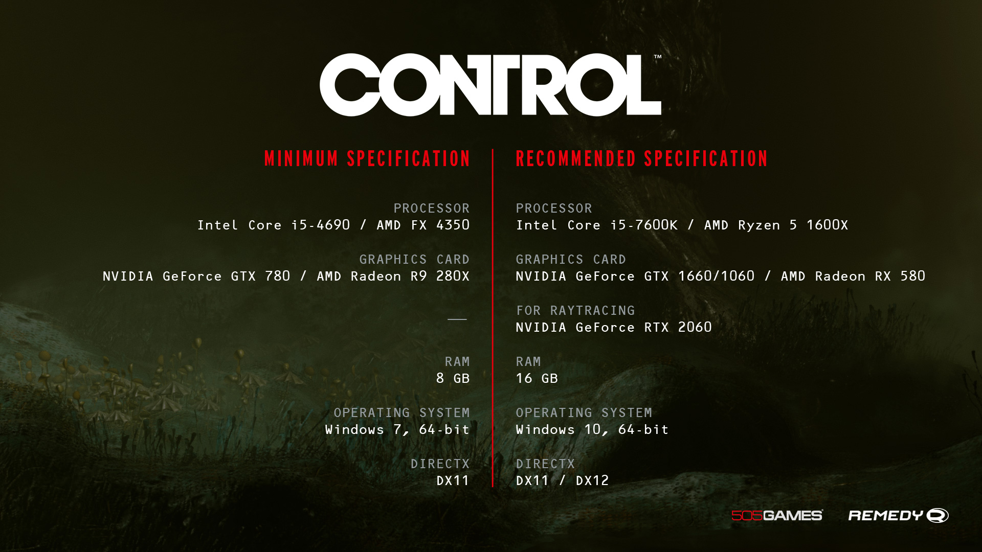 Remedy's Control PC specs have been revealed